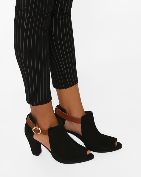 Suede Leather Block Heeled Shoes By Inara ( Black )