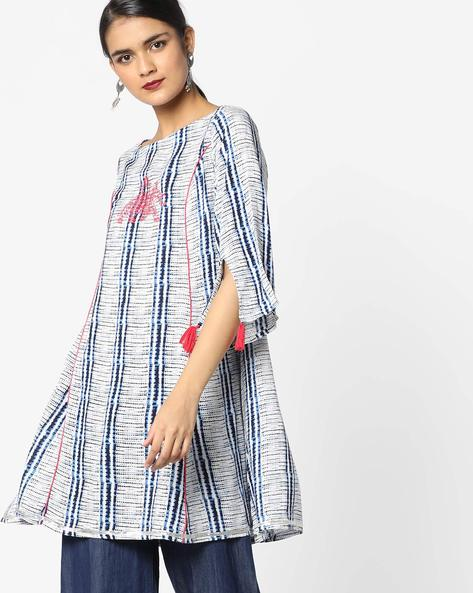 Printed Tunic With Embroidery By AJIO ( Blue )