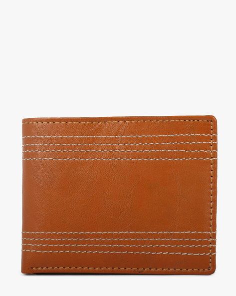 Textured Bi-Fold Leather Wallet By TEAKWOOD LEATHERS ( Tan )