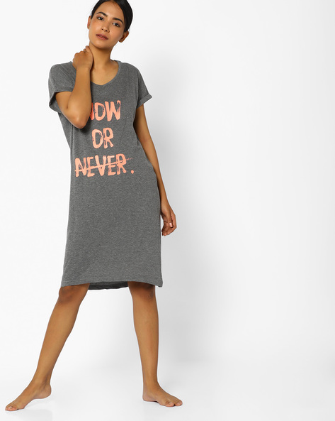 Typographic Print Nightdress With Upturned Sleeve Hems By Slumber Jill ( Charcoal )