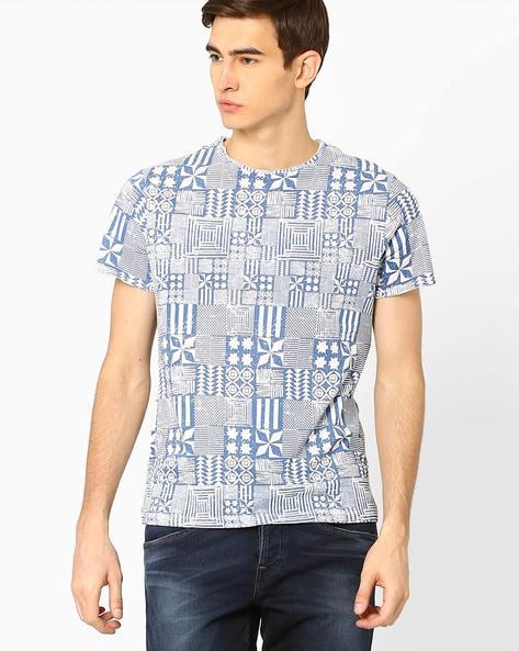 Tribal Print Crew-Neck T-shirt By AJIO ( Blue )