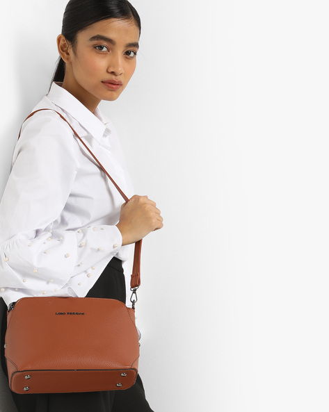 Textured Sling Bag By Lino Perros ( Tan )