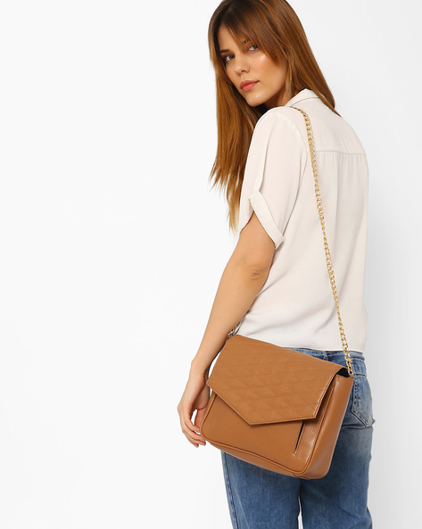 Sling Bag With Quilt Stitched Flap By AJIO ( Tan )