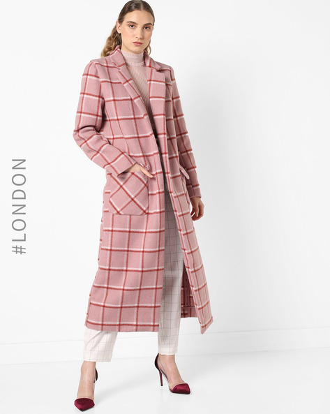 Checked Trench Coat With Notched Collar By Glamorous ( Pink )