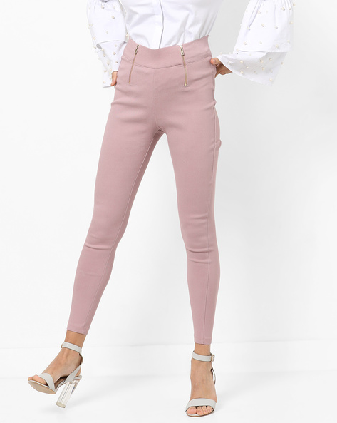 High-Rise Jeggings With Front Zipper By AJIO ( Pink )