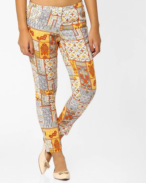 Printed Pants By AJIO ( Offwhite )