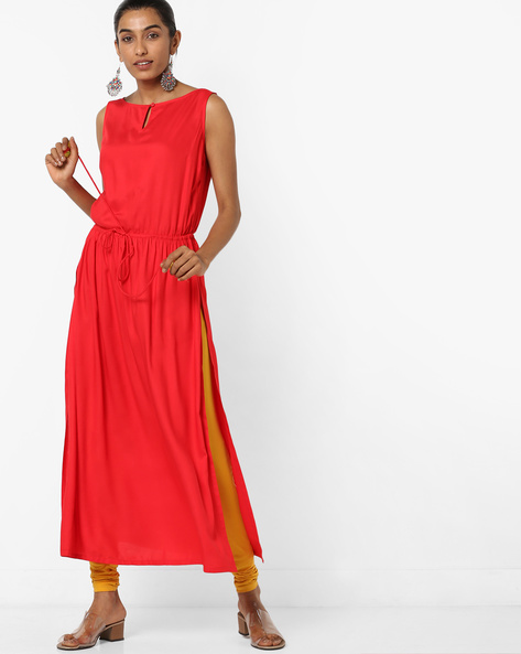 Boat-Neck A-line Kurta With Waist Tie-Up By AJIO ( Red )
