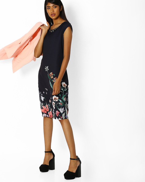 Floral Print Shift Dress With Embellished Neck By FIG ( Navy )