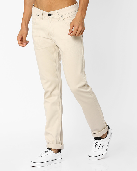 Skinny Fit Twill Chino Trousers By BASICS ( Beige )