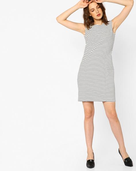Striped Sleeveless Sheath Dress By FIG ( White )