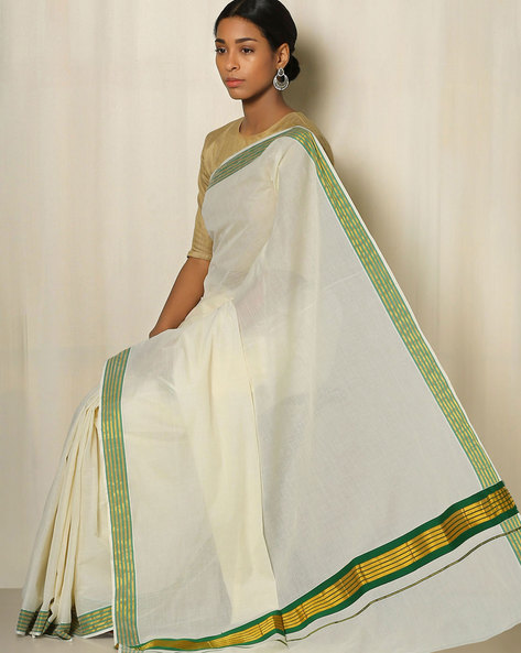 Kerala Kasavu Cotton Saree By Indie Picks ( Offwhite ) - 460041798001