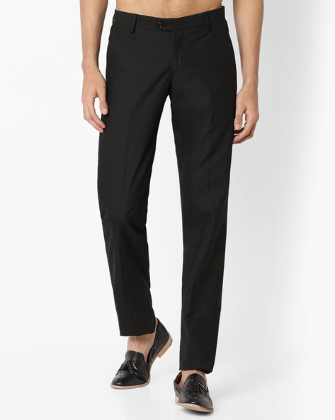 Slim Fit Flat-Front Trousers By VIMAL APPARELS ( Black )