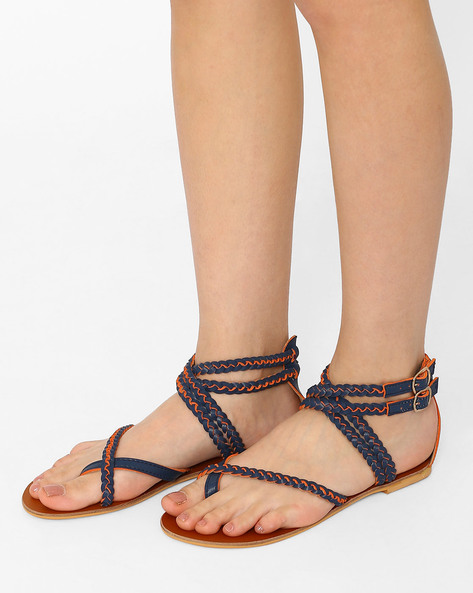 Strappy Flats With Buckle Closures By Curiozz ( Blue )