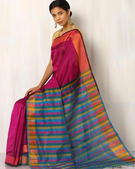 Handwoven Mangalgiri Cotton Silk Saree By Indie Picks ( Magenta )