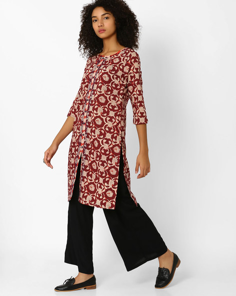 Floral Print Straight Kurta With Slit Hem By AJIO ( Maroon )