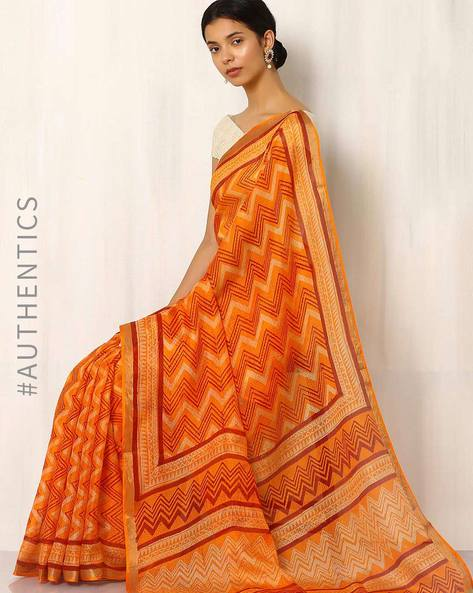 Bagru Print Kota Pure Silk Saree By Indie Picks ( Orange )