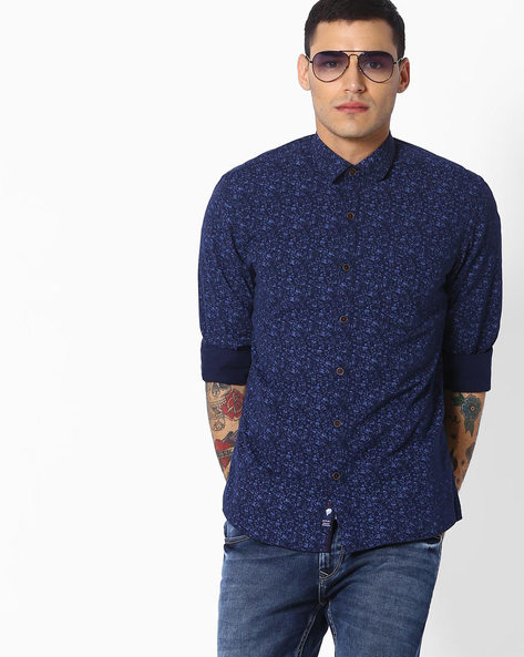 Slim Fit Floral Print Shirt By NETPLAY ( Navy )