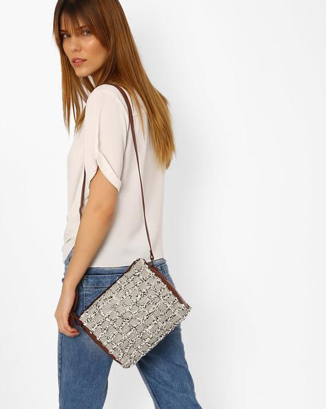 Sling Bag With Frayed Checks By AJIO ( Grey )