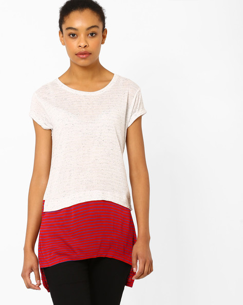 Cut & Sew High-Low T-shirt By TEAM SPIRIT ( Offwhite )
