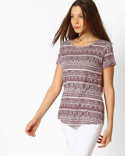 Printed Top With Short Sleeves By Fame Forever ( Wine )