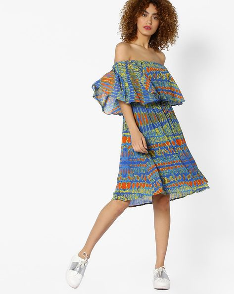 Off-Shoulder Dress With Ruffled Bodice By Global Desi ( Printed )