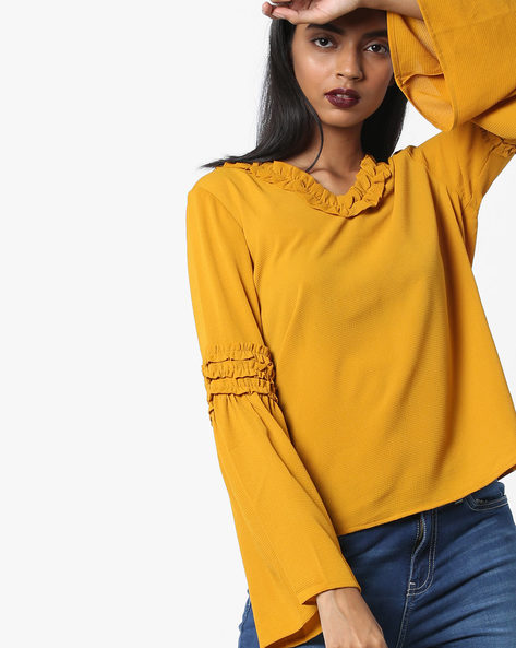 Ruffle Neck Top With Bell Sleeves By Femella ( Mustard )
