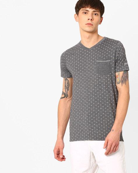 Printed Slim Fit V-neck T-shirt By Killer ( Assorted )
