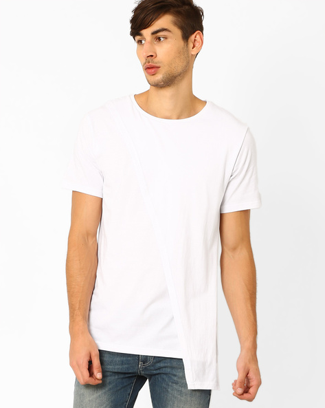 Slim T-shirt With Crossover Detail By Blue Saint ( White )