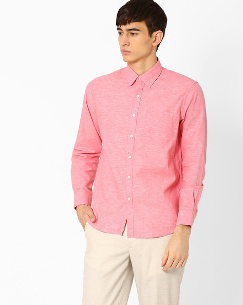 Linen Shirt With Patch Pocket By NETWORK ( Red )