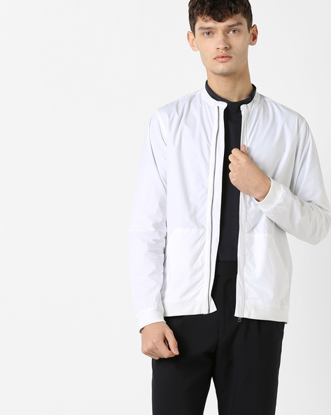 Zip-Front Shirt With Ribbed Hems By AJIO ( White )