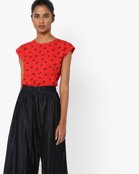 Printed Crew-Neck Top By Blue Saint ( Red )