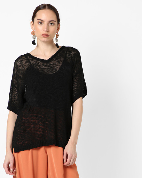 Knitted Top With Ribbed Panel By SAINT TROPEZ ( Black )