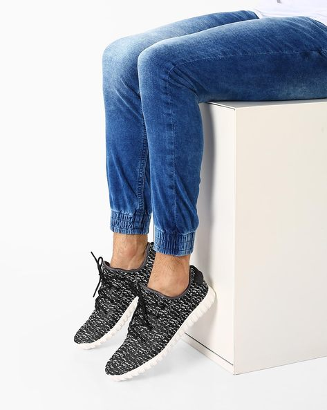 Printed Lace-Up Trainers By AJIO ( Black )