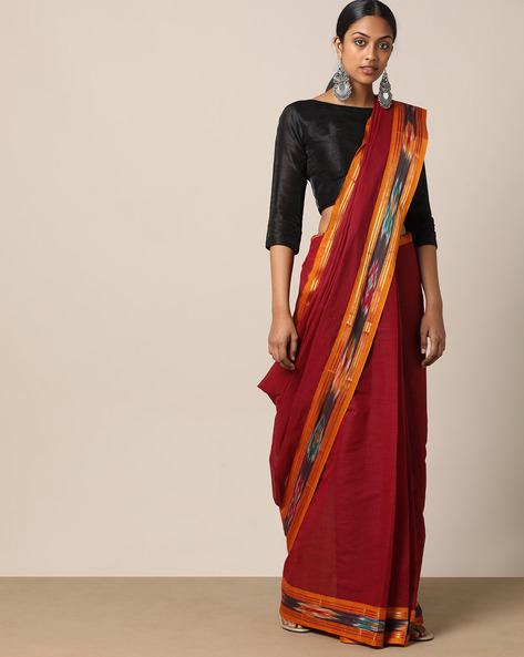 South Cotton Saree With Ikat Pallu By Indie Picks ( Maroon )