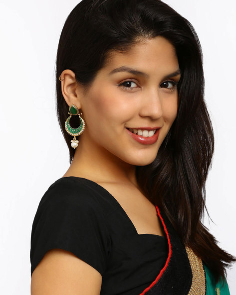 Gold-Plated Stone-Studded Drop-Earrings By Fida ( Green )