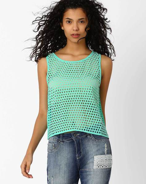 Laser-Cut Tank Top By AJIO ( Mint )