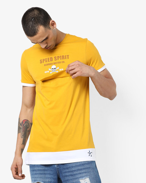 Printed Crew-Neck T-shirt With Contrast Hem Fuller By AJIO ( Yellow )
