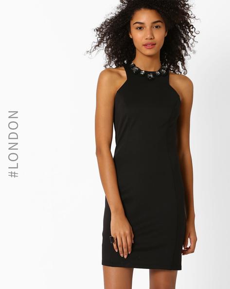 Bodycon Dress With Detachable Neckpiece By Zibi London ( Black )