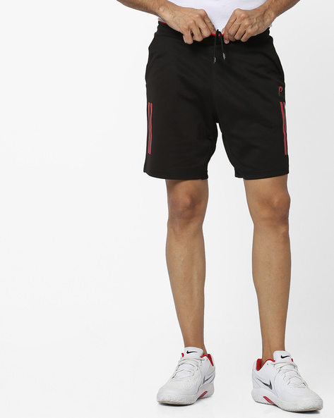 Regular Fit Shorts With Striped Print By PROLINE ( Black )