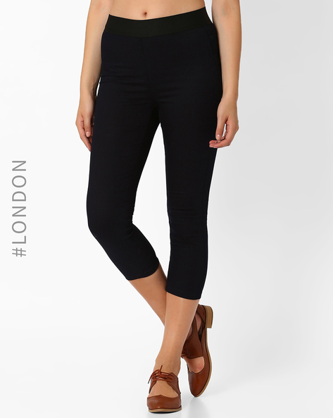 Cropped Jeggings With Pockets By Marks & Spencer ( Indigo )