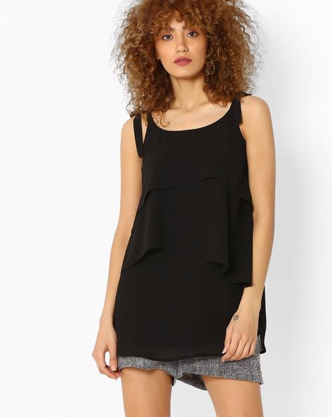 Strappy Layered Mini Dress By Femella ( Black )