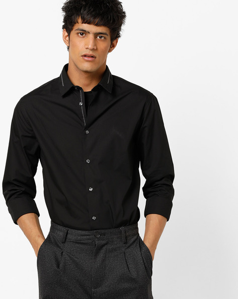 Slim Fit Shirt With Spread Collar By Celio ( Black )