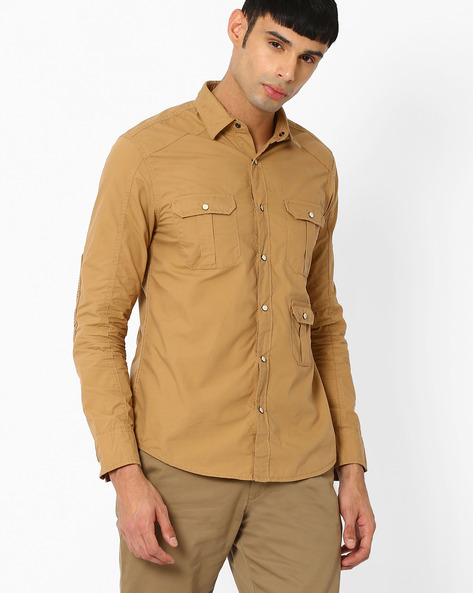 Slim Biker Shirt With Pintuck Patches By AJIO ( Khaki )