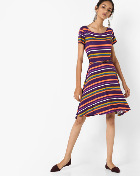 Striped A-line Dress With Belt By UNITED COLORS OF BENETTON ( Purple )