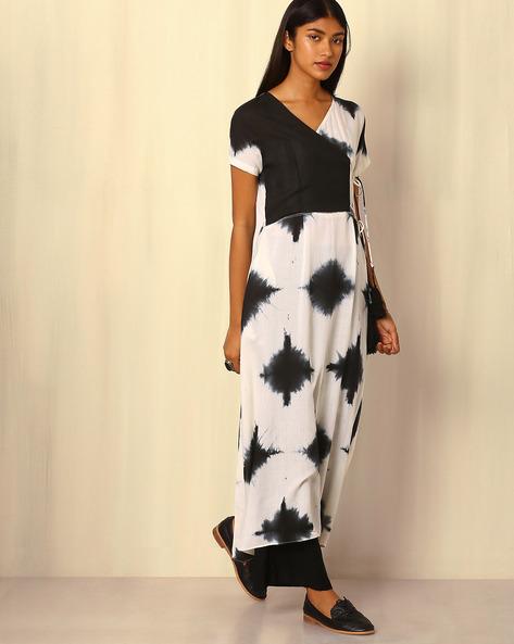 Tie-and-Dye Cotton Silk Kurta By Sanyogini ( Black )