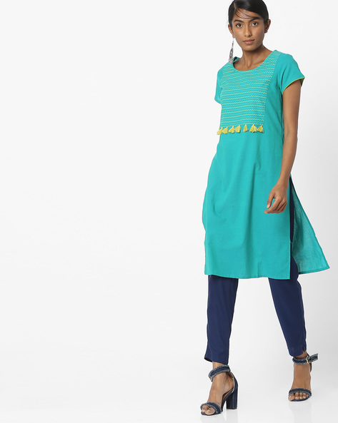 Printed Straight Kurta With Tassels By Melange By Lifestyle ( Teal )