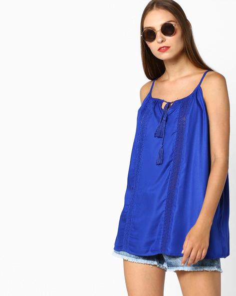 Strappy Lace Top By AJIO ( Blue )