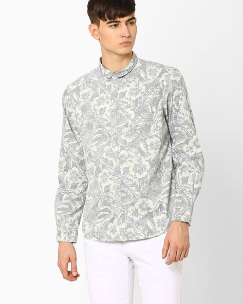 Floral Print Slim Fit Shirt By AJIO ( Blue )