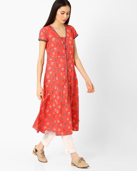 Printed Kurta With Front Slit By AJIO ( Coral )