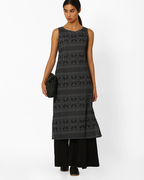Printed Sleeveless Straight Kurta By AJIO ( Black )